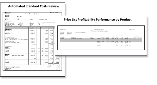 Automated standard cost review and Price List profitability performance