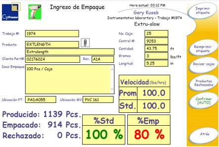 Pantalla de adquisición de datos de extrusión de perfiles