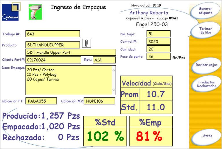 Pantalla de adquisición de datos para operaciones de moldeo