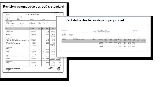 Révision automatique des coûts standard et des listes de prix