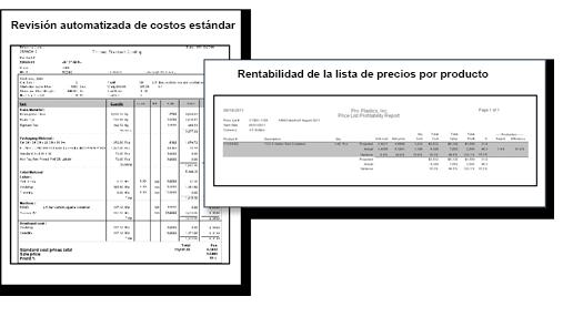 Revisión automatizada de costos estándar y de listas de precios